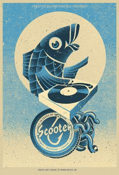 Silkscreened Gigposter by Lars P. Krause for SCOOTER Europe Tour 2014. available at: www.douze.de