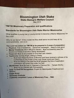 Bloomington Utah LDS Stake - Missionary Preparation and Qualifications