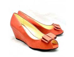 Coral Pink Patent Peep Toe Medium Wedge Heel Shoes