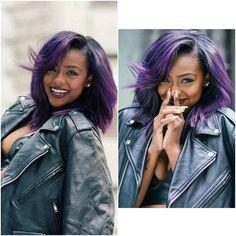 Image result for purple hair dark skin