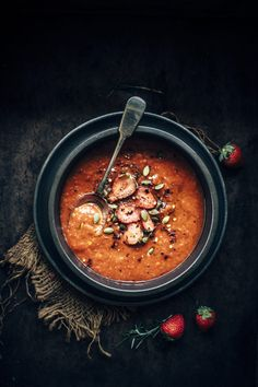 tangy, sweet roasted red pepper and strawberry soup