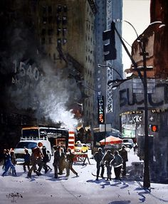 NYC Street Repair by Ron Bigony watercolor and Gouache ~ 17.25 x 14.50