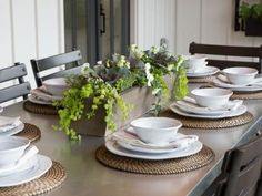 Vintage French Soul ~ In the Fixer Upper season four finale, Chip and Jo take on a project for some special clients and deliver a makeover that's way long on 'wow' factor. Farmhouse Table Centerpieces, Dining Room Centerpiece, Diy Farmhouse Table, Farmhouse Furniture, Centerpiece Ideas, Farmhouse Windows, Farmhouse Ideas, Fresh Farmhouse, Farmhouse Style Kitchen