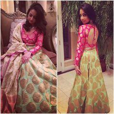 This outfit got me feeling like 😍. Party Wear Lehenga, Bridal Lehenga Choli, Indian Lehenga, Choli Designs, Lehenga Designs, Saree Blouse Designs, Dress Designs, Long Gown Dress, Lehnga Dress