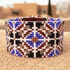 Boho Rhapsody Bead Loom Bracelet Artisanal Jewelry by PuebloAndCo