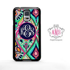 Monogram Samsung Galaxy S5 Case Colorful Abstract, custom Lilly Pulitzer Inspired monogram Galaxy S5 case, Galaxy Note 3 Case S4 Mini Cover on Etsy, $15.88