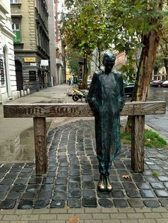 A statue dedicated to the Hungarian poet, Miklos Radnoti, near the Theater District in Budapest, Hungary. Hungary Travel, Budapest Hungary, Garden Sculpture, Statue, History, Metal, Theater, Sculptures, Literature