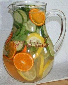 Water 1 whole sliced grapefruit or lemon 1 tangerine or orange ½ cucumber, sliced 2 peppermint leaves or a small handful of any mint Ice – as much as you like Directions Wash grapefruit, tangerine cucumber and peppermint leaves. Slice cucumber, grapefruit and tangerine (or peel). Combine all ingredients (fruits, vegetables, and ice) into a large pitcher. Fill pitcher with water