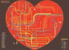 A beautiful heart-shaped map of the NYC subway systemby Zero Per Zero.