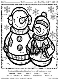 Snowflake Solutions ~ Math Printables Color By The Code Puzzles For Winter To Practice ADDITION & SUBTRACTION facts. ~This Unit Is Aligned To The CCSS. Each Page Has The Specific CCSS Listed.~ This set includes 4 snowman themed math puzzles to practice math skills. $
