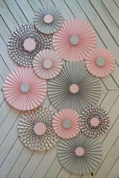 Use boy neutral colors blue, green, Grey and Polka Dot paper fans/rosettes with paper flowersLove the color tone and the design.~ It's a Colorful Life ~ — Colors ~ Pink and GrayPink and Gray Elephant Baby Shower ideas wedding purple and sil Grey Baby Shower, Baby Boy Shower, Baby Shower Decorations For Boys, Baby Shower Themes, Shower Ideas, Elephant Decorations, Decoration Creche, Diy Paper, Paper Crafts