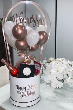 Diy Birthday Surprise, Birthday Surprises For Her, Surprise Box Gift, Birthday Gifts, 23rd Birthday, Balloon Box, Balloon Gift, Balloon Bouquet, Balloon Surprise