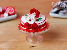 Christmas Cake - Snowflakes Spilling from Cup - 12th Scale Miniature Food