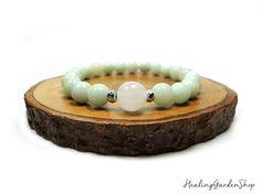 Amazonite // White Jade Bracelet // Healing Garden Shop //