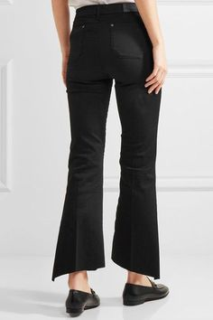 M.i.h Jeans - Marrakesh Frayed Cropped Mid-rise Flared Jeans - Black - 26