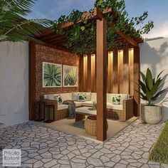 Home Garden and Decor Inspiration. Small Backyard Gardens, Backyard Patio Designs, Backyard Landscaping, Rooftop Design, Terrace Design, Terrace Decor, Design Exterior, House Plants Decor, Gazebo