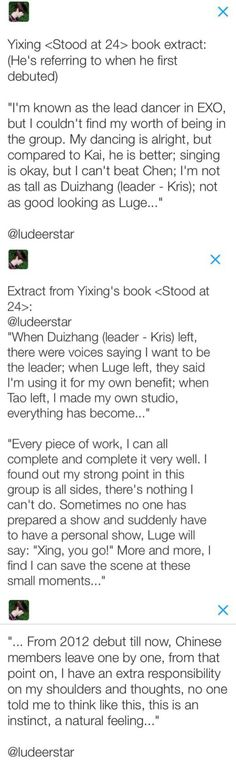 an english translation of yixing's book where he mentions the members and china line. my poor already weakened heart #xingyougo #layhanlives