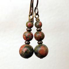 Earthy Unakite Earrings stone earrings gemstone by ABitOfNature