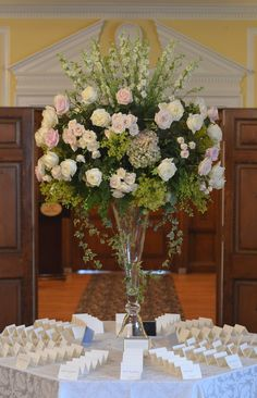 Large card table flowers