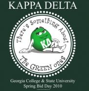 Kappa Delta ... Something about the green ones!  Fun gift ideas -  fill a jar with green M's