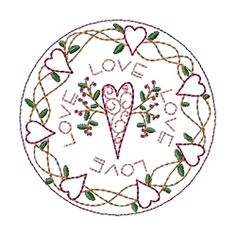 """Hearts of Love 4"""" Candle Mat   Primitive   Machine Embroidery Designs   SWAKembroidery.com Homeberries Designs"""