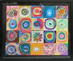 Kinders paint in the style of Kandinsky's Squares with Concentric Circles:    *Classroom activity for classroom teachers. *Start by drawing a small Earth in the center of a square piece of paper.    *Color concentric circles around the Earth.  *Color the square.    *Paste squares onto a large sheet of bulletin board paper in the hallway.