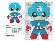 Baby Captain America free Superheroes cross stitch patterns