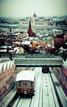 The Funicular Railway between the base of Buda Hill near the Szechenyi Chain Bridge up to Buda Castle and Matthias Cathedral in Budapest, Hungary.