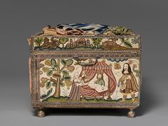 8)  Cabinet with scenes from the Story of Esther.  c.after 1665 British.  DETAIL: Cabinet, right side panel.