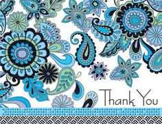 Blue Paisley Thank You Note Cards. Find at DesignDesign.us