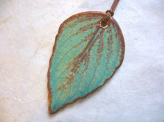 Old And Rustic Ceramic Leaf Pendant by JulesCermamics  Sold.