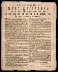 In 1790 roughly 277,000 Americans were of German ancestry. About 141,000 of these lived in Pennsylvania, where they constituted almost one third of the total population. The original Declaration of Independence was printed on a broadside on July 5, 1776 and a German version followed on July 9, 1776.