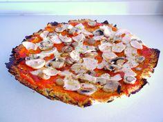 Pizza crujiente base coliflor y harina de almendra