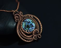 Oriole Studio Wire wrapped necklace paua shell pendant wire weave abalone