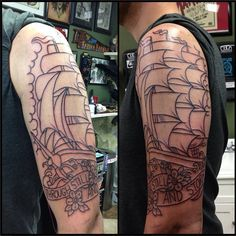 "First session outline, traditional clipper ship with ""Through Still And Storm"" banner. By Shane Murphy, Crown Of Thorns Tattoo, Worcester, MA. #tattoo #traditional #ship"