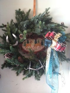 Horsey wreath for the tack room.