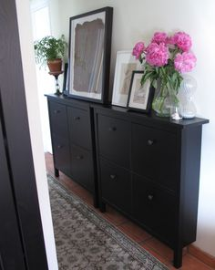 HEMNES Shoe cabinet with 4 compartments -great storage solution for blank walls…