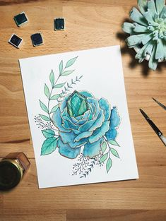 rose, peony illustration, succulent, art, watercolor, gold foil, copper foil, floral, flowers, florals, tattoo design, painting, mixed media art, emerald, precious stone, gemstone, green, blue, mint