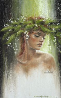 Lilly of the Valley #art #green #womanface