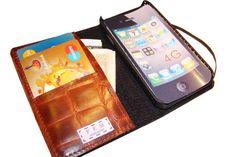 "iPhone leather wallet ""CROCO"". $80.00, via Etsy."