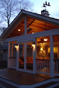 With a high open gable roof this covered porch will be a cool comfy place to hang out day or night. Avoiding the harsh glare of the sun, but still allowing in plenty of light during the day. #coveredporches