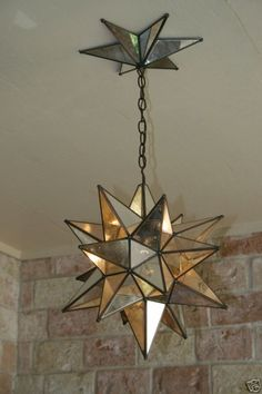 Moravian Star Mirror and Metal Canopy & light