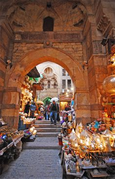 Khan el-Khalili is a major souk in the Islamic district of Cairo. The bazaar district is one of Cairo's main attractions for tourists and Egyptians alike.