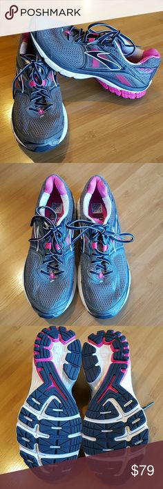Brooks Ravenna 5 shoes size 10.5 Excellent running shoes. Worn once on a walk. Colors are gray,navy and pink. Brooks Shoes Athletic Shoes