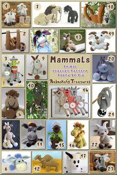 Mammals: Donkeys, Goats, Camels & Sloths   Animal Crochet Pattern Round Up of camels, donkeys, goats & sloths via @beckastreasures