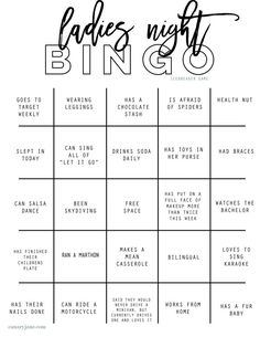 Ladies Night Out Bingo Icebreaker Printable - Canary Jane - Great free printable moms night out ladies night girls night bingo with hilarious spaces # girl night Ladies Night Out Bingo Icebreaker Printable - Canary Jane Games For Ladies Night, Ladies Night Party, Games For Girls, Girls Night Parties, Girls Night In, Girls Night Crafts, Birthday Games For Adults, Night Couple, Adult Games