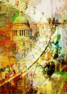 'Impressions (I)' - Abstract Impressionist London Skyline by Czar Catstick