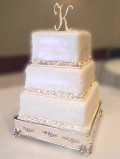 Elegant Silver White Square Wedding Cakes Photos & Pictures - WeddingWire.com