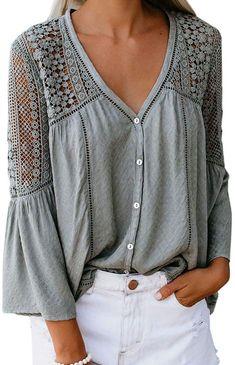 Crochet Blouse, Crochet Lace, Elisa Cavaletti, Mode Boho, Casual Tops, Casual Shirt, Distressed Denim, Shirt Blouses, My Style