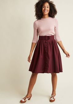Intern of Fate Midi Skirt in Burgundy